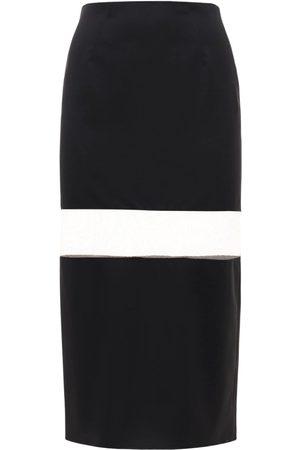 MUGLER Women Skirts - High Waist Wool Skirt W/ Sheer Inserts