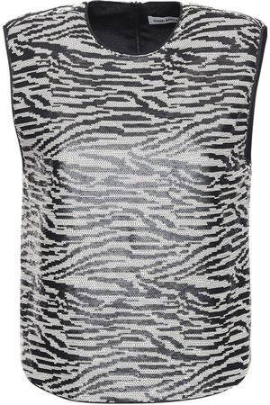 Self-Portrait Sleeveless Zebra Sequin Top