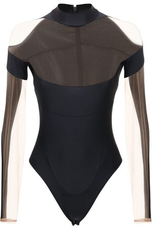 MUGLER Stretch Bodysuit W/ Sheer Inserts