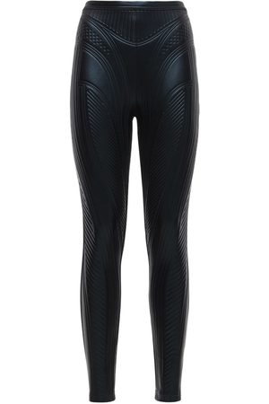 MUGLER Embossed Shiny Stretch Jersey Leggings