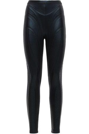 MUGLER Women Leggings - Embossed Shiny Stretch Jersey Leggings