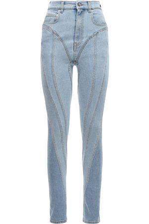 MUGLER High Waist Stretch Cotton Jeans