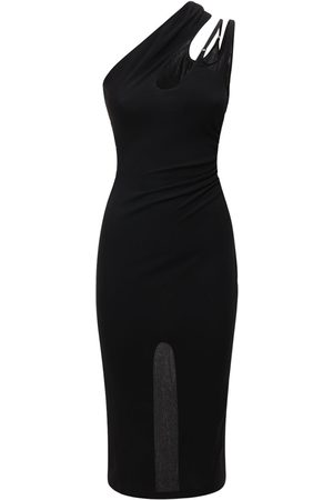 MUGLER Crepe Jersey Midi Dress W/ Back Slit