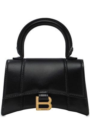 BALENCIAGA Mini Hourglass Leather Top Handle Bag