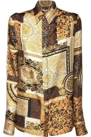 VERSACE Patchwork Print Silk Twill Shirt
