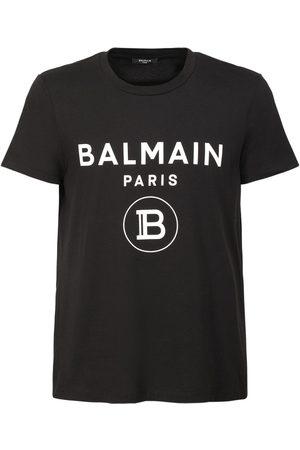 Balmain Men T-shirts - Logo Printed Cotton Jersey T-shirt