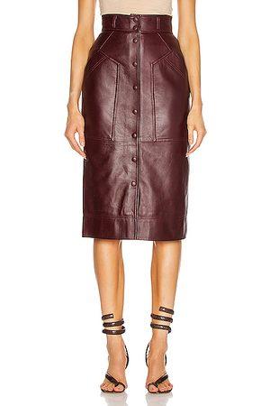 Alberta Ferretti Leather Button Skirt in