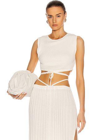 CHRISTOPHER ESBER Sleeveless Knit Tie Crop Top in White