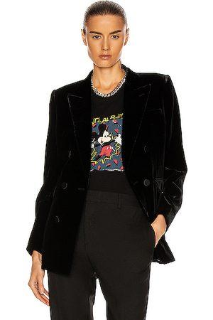 Saint Laurent Velvet Double Breasted Jacket in