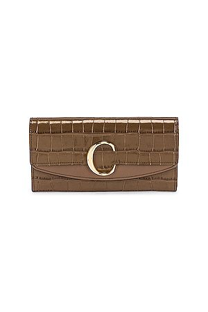 Chloé C Embossed Croc Clutch in