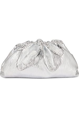 Bottega Veneta Leather Bark Metal Pouch in Metallic