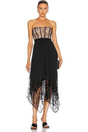 JONATHAN SIMKHAI Women Strapless Dresses - Scarlett Strapless Pleated Midi Dress in