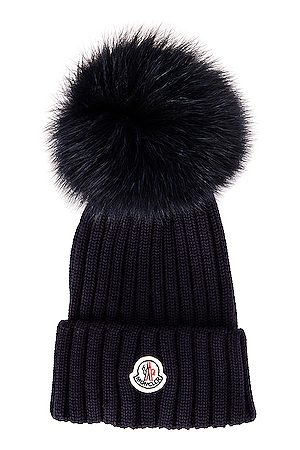 Moncler Berretto Tricot Beanie in Navy
