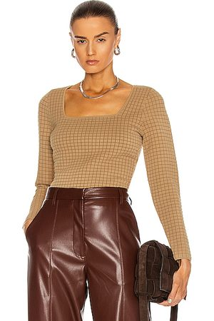 PROENZA SCHOULER WHITE LABEL Quilted Square Neck Long Sleeve Top in Neutral