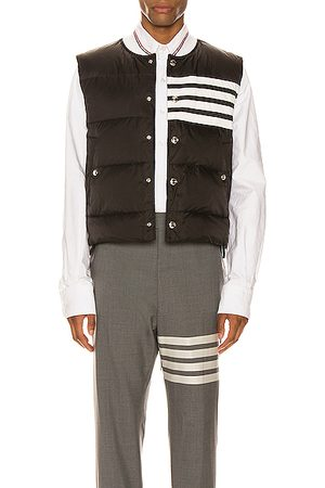 Thom Browne Gilets - Downfilled 4 Bar Snap Front Vest in