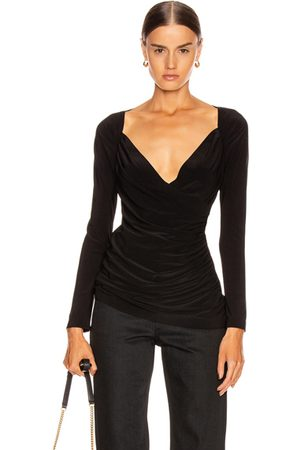 Norma Kamali Women Tops - Long Sleeve Sweetheart Side Drape Top in