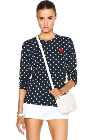 Comme des Garçons Long Sleeve - Cotton Emblem Dot Tee in Polka Dots