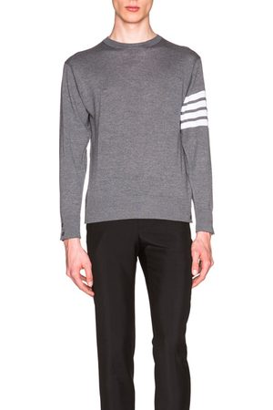 Thom Browne Classic Merino Crewneck Sweater in Grey