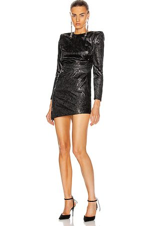 Saint Laurent Long Sleeve Mini Dress in ,Animal Print
