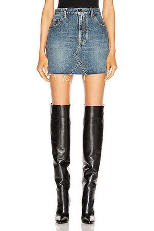 Saint Laurent Mini Skirts - Classic Triangle Denim Mini Skirt in