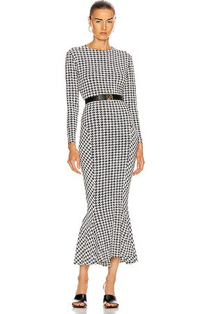 Norma Kamali Long Sleeve Crew Fishtail Dress in Abstract,