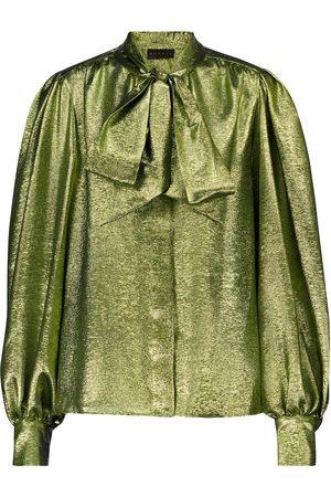 Dundas Silk-blend lamé shirt