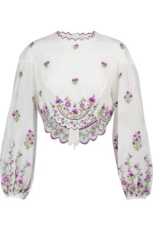 ZIMMERMANN Poppy embroidered linen crop top