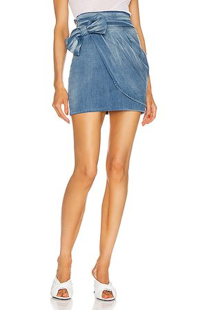 Redemption Drape and Bow Mini Skirt in Denim Medium