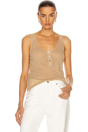 THE RANGE Tank Tops - Henley Linen Rib Tank in Neutral