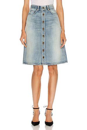 Saint Laurent Denim Skirts - Classic Trapeze Skirt in Denim Light