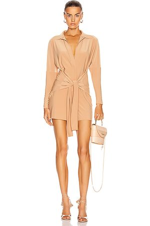Norma Kamali Women Shirts - Tie Front NK Shirt Jumpshort in Nude