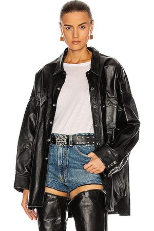 R13 Leather Oversized Cowboy Shirt in