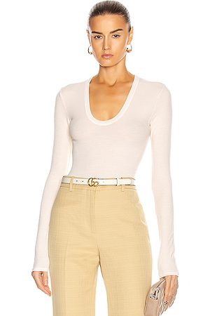 ENZA COSTA Long Sleeve - For FWRD Silk Rib Fitted Long Sleeve U Top in Neutral