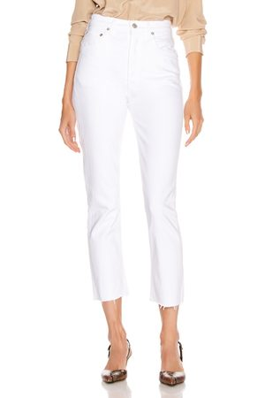 AGOLDE Riley High Rise Straight Crop in White