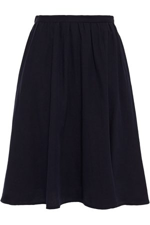 American Vintage Woman Pleated Cotton And Wool-blend Twill Skirt Navy Size L