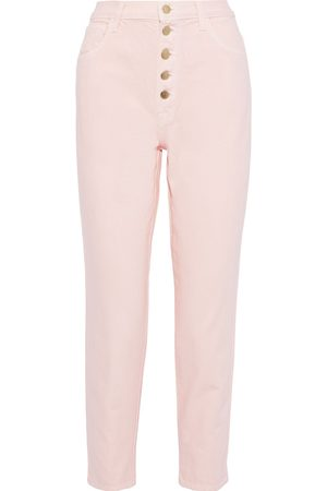 J Brand Woman Heather Cropped High-rise Straight-leg Jeans Pastel Size 24
