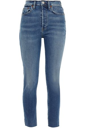 RE/DONE Woman Cropped Distressed High-rise Slim-leg Jeans Light Denim Size 23