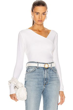 ENZA COSTA Brushed Supima Cotton Asymmetrical Neck Long Sleeve Top in