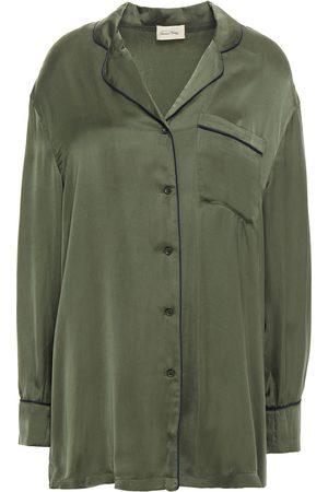 American Vintage Woman Cupro-satin Shirt Army Size L