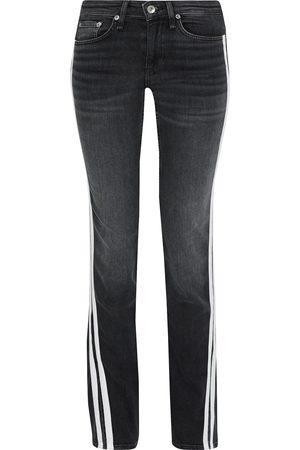 RAG&BONE Woman Cate Split-front Striped Mid-rise Flared Jeans Dark Denim Size 24