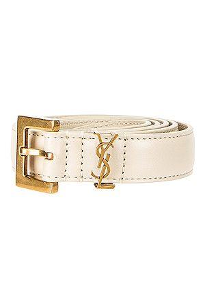 Saint Laurent Women Belts - Logo Leather Belt in