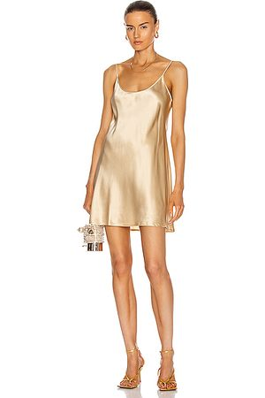 La Perla Silk Short Slip Dress in Metallic ,Neutral