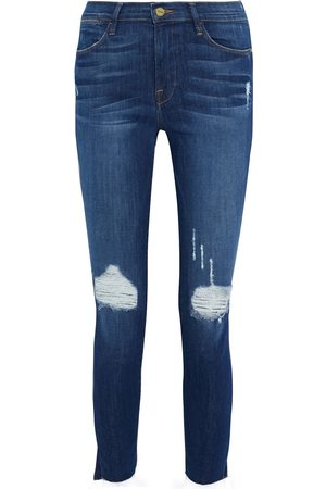 Frame Woman Le High Skinny Cropped Distressed Mid-rise Skinny Jeans Mid Denim Size 28