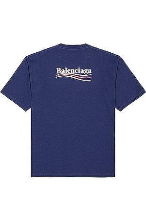 Balenciaga Short Sleeve Large Fit Tee in Navy