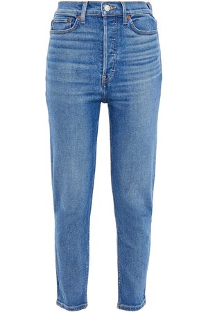 RE/DONE Woman Cropped Faded High-rise Slim-leg Jeans Mid Denim Size 23