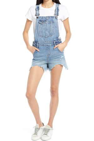 HIDDEN JEANS Women's Frayed Hem Short Overalls