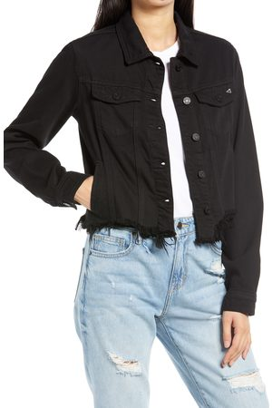 HIDDEN JEANS Women's Fray Hem Denim Trucker Jacket