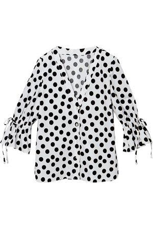 Carolina Herrera Women's Ruffle-Sleeve Polka Dot Blouse - - Size 14