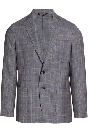 Saks Fifth Avenue Men's COLLECTION Glen Plaid Virgin Wool Jacket - - Size 38 R