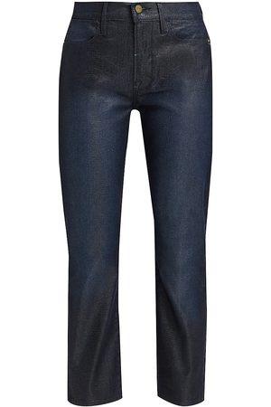 Frame Women's Le High Straight-Leg Lizard Coated Jeans - - Size 30 (8-10)